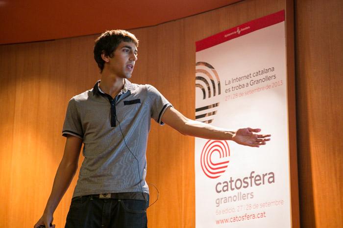 Arnau Duran, president d'Amical Wikimedia, a la Catosfera (Foto: Jordi Borràs)
