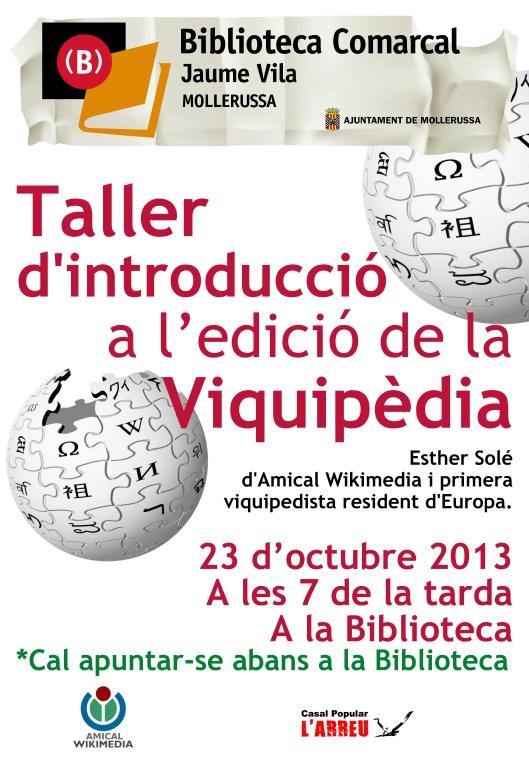 Taller d'introducció a l'edició de la Viquipèdia Mollerussa