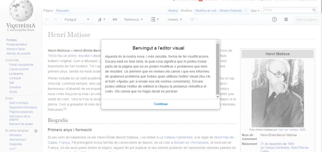 Clica el botó «Modifica», millora qualsevol article de la Viquipèdia i comparteix l'experiència amb l'etiqueta #editorvisual!